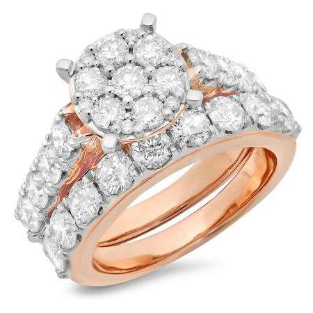 3.40 Carat (ctw) 18K Rose Gold Round Cut Diamond Ladies Cluster Bridal Engagement Ring With Matching Band Set