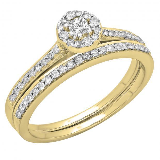 0.40 Carat (ctw) 10K Yellow Gold Princess & Round Cut Diamond Ladies Bridal Halo Style Engagement Ring With Matching Band Set