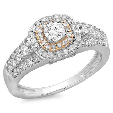 1.00 Carat (ctw) Two Tone Rose Gold Plated 14K White Gold Round Cut Diamond Ladies Vintage Style Bridal Halo Engagement Ring 1 CT