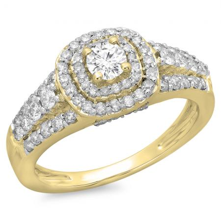 1.00 Carat (ctw) 14K Yellow Gold Round Cut Diamond Ladies Vintage Style Bridal Halo Engagement Ring 1 CT