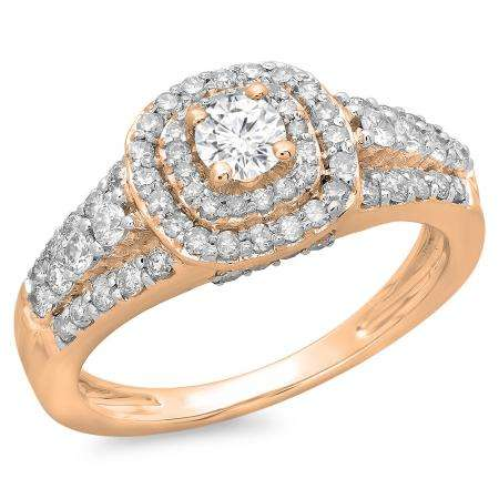 1.00 Carat (ctw) 18K Rose Gold Round Cut Diamond Ladies Vintage Style Bridal Halo Engagement Ring 1 CT