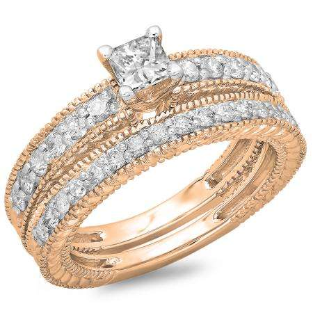 1.10 Carat (ctw) 14K Rose Gold Princess & Round Cut Diamond Ladies Vintage Bridal Engagement Ring With Matching Band Set 1 CT