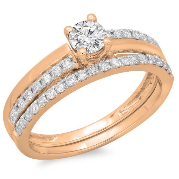 0.75 Carat (ctw) 14K Rose Gold Round Cut Diamond Ladies Bridal Engagement Ring With Matching Band Set 3/4 CT