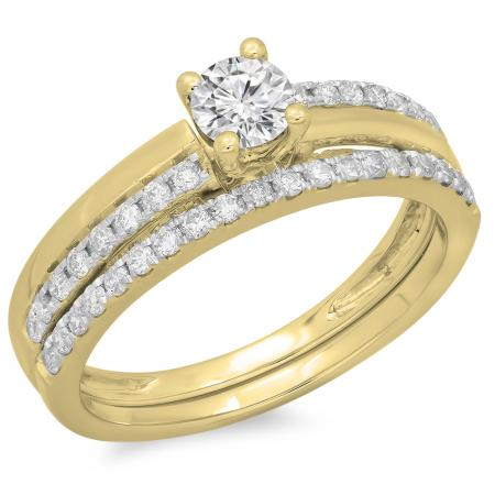 0.75 Carat (ctw) 14K Yellow Gold Round Cut Diamond Ladies Bridal Engagement Ring With Matching Band Set 3/4 CT