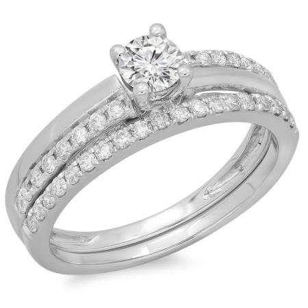0.75 Carat (ctw) 18K White Gold Round Cut Diamond Ladies Bridal Engagement Ring With Matching Band Set 3/4 CT