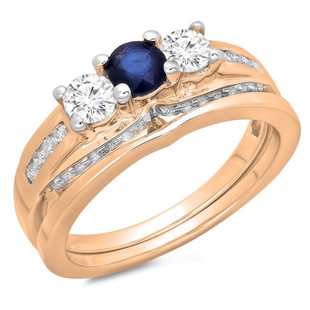 1.10 Carat (ctw) 10K Rose Gold Round Blue Sapphire & White Diamond Ladies Bridal 3 Stone Engagement Ring With Matching Band Set 1 CT