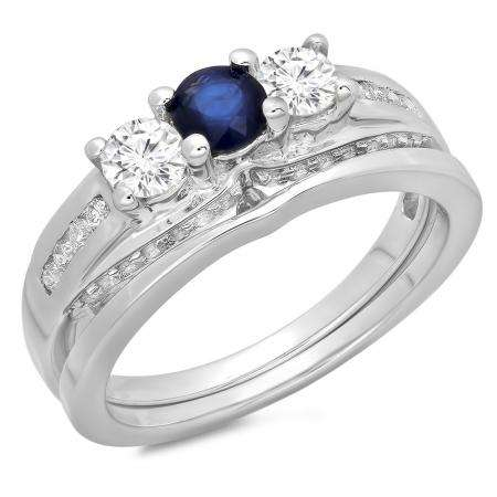 1.10 Carat (ctw) 10K White Gold Round Blue Sapphire & White Diamond Ladies Bridal 3 Stone Engagement Ring With Matching Band Set 1 CT