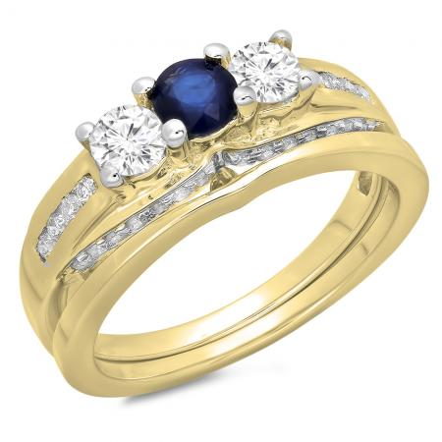 1.10 Carat (ctw) 18K Yellow Gold Round Blue Sapphire & White Diamond Ladies Bridal 3 Stone Engagement Ring With Matching Band Set 1 CT