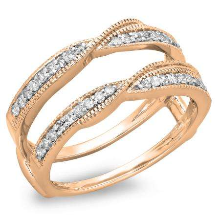 0.33 Carat (ctw) 10K Rose Gold Round Diamond Ladies Anniversary Wedding Band Enhancer Guard Double Ring 1/3 CT