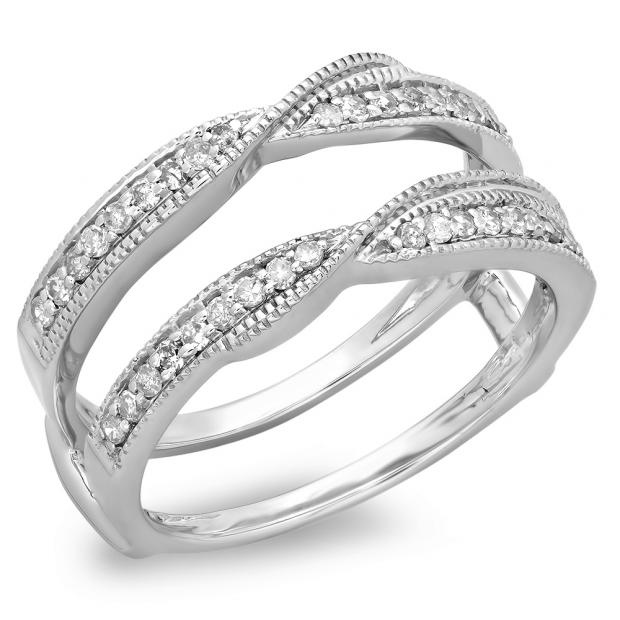 0.33 Carat (ctw) 14K White Gold Round Diamond Ladies Anniversary Wedding Band Enhancer Guard Double Ring 1/3 CT