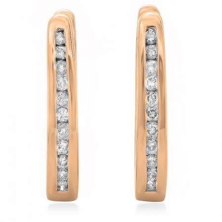 0.25 Carat (ctw) 10K Rose Gold Round Cut Diamond Ladies Hoop Earrings 1/4 CT
