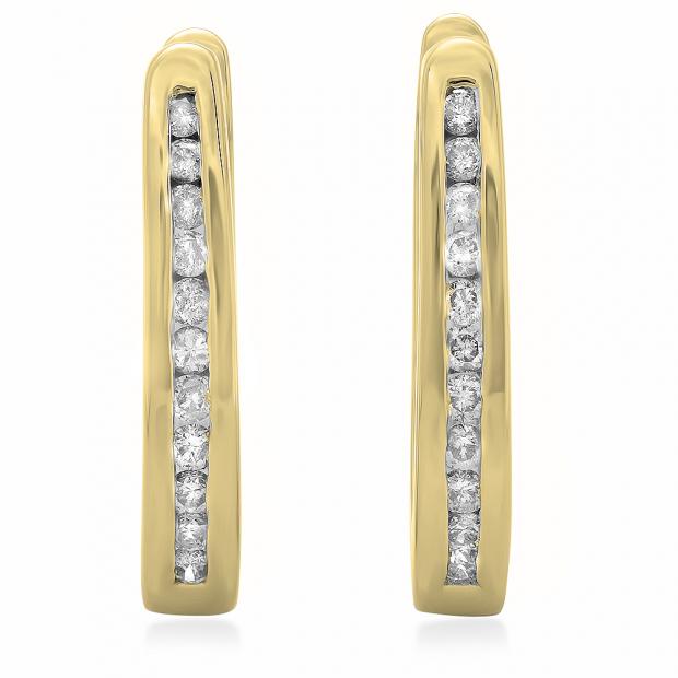 0.25 Carat (ctw) 10K Yellow Gold Round Cut Diamond Ladies Hoop Earrings 1/4 CT