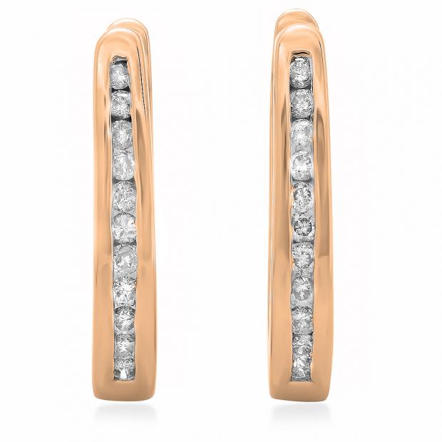 0.25 Carat (ctw) 18K Rose Gold Round Cut Diamond Ladies Hoop Earrings 1/4 CT