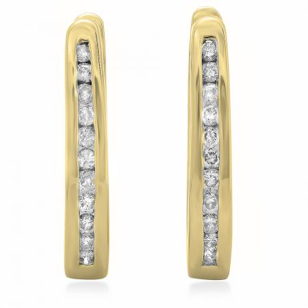 0.25 Carat (ctw) 18K Yellow Gold Round Cut Diamond Ladies Hoop Earrings 1/4 CT