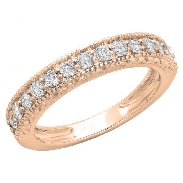 0.55 Carat (ctw) 14K Rose Gold Round Cut Diamond Ladies Millgrain Anniversary Wedding Stackable Band 1/2 CT