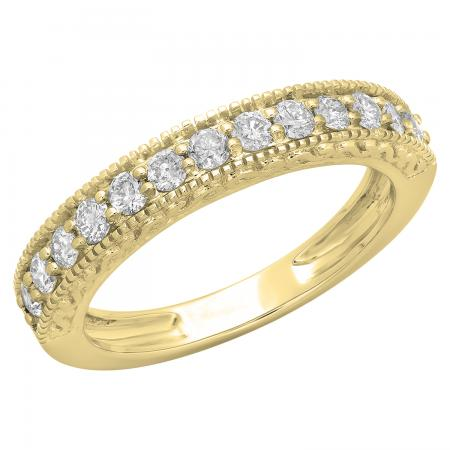 0.55 Carat (ctw) 14K Yellow Gold Round Cut Diamond Ladies Millgrain Anniversary Wedding Stackable Band 1/2 CT