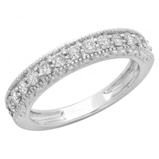 0.55 Carat (ctw) 18K White Gold Round Cut Diamond Ladies Millgrain Anniversary Wedding Stackable Band 1/2 CT