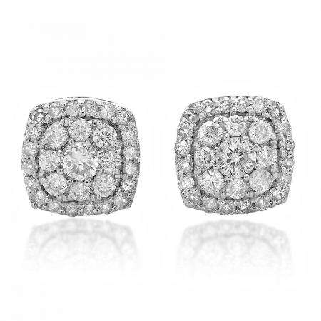 0.50 Carat (ctw) 18K White Gold Real Round Cut White Diamond Ladies Cluster Stud Earrings 1/2 CT