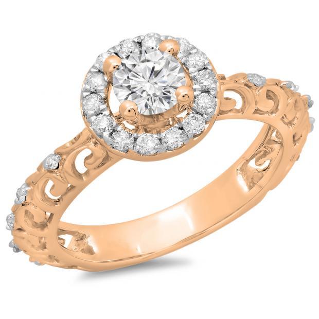 0.80 Carat (ctw) 14K Rose Gold Round Cut Diamond Ladies Bridal Vintage Halo Style Engagement Ring 3/4 CT