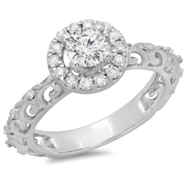 0.80 Carat (ctw) 14K White Gold Round Cut Diamond Ladies Bridal Vintage Halo Style Engagement Ring 3/4 CT