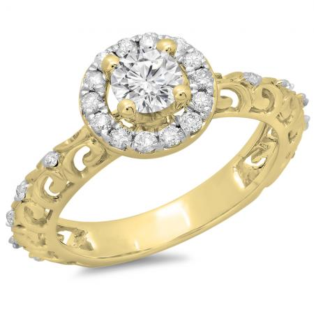 0.80 Carat (ctw) 14K Yellow Gold Round Cut Diamond Ladies Bridal Vintage Halo Style Engagement Ring 3/4 CT