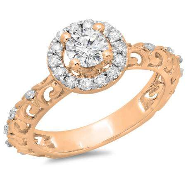 0.80 Carat (ctw) 18K Rose Gold Round Cut Diamond Ladies Bridal Vintage Halo Style Engagement Ring 3/4 CT