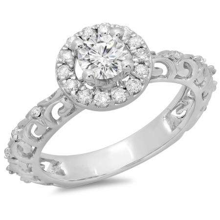 0.80 Carat (ctw) 18K White Gold Round Cut Diamond Ladies Bridal Vintage Halo Style Engagement Ring 3/4 CT