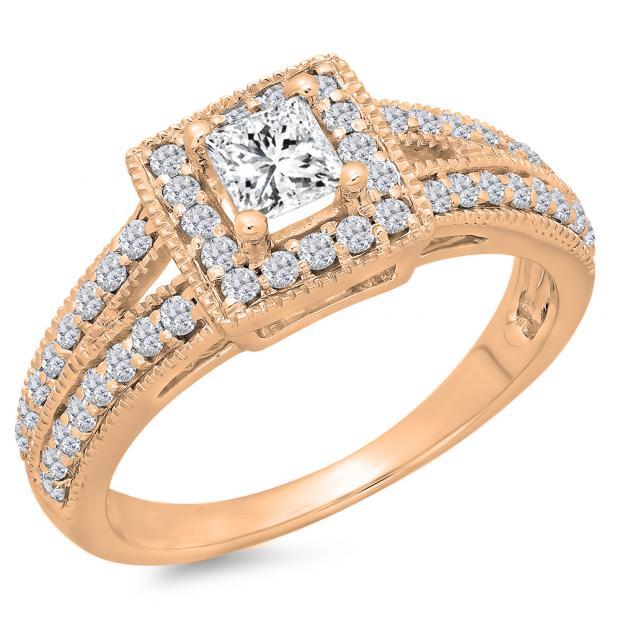 0.80 Carat (ctw) 14K Rose Gold Princess & Round Cut Diamond Ladies Split Shank Bridal Halo Engagement Ring 3/4 CT