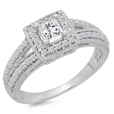 0.80 Carat (ctw) 14K White Gold Princess & Round Cut Diamond Ladies Split Shank Bridal Halo Engagement Ring 3/4 CT