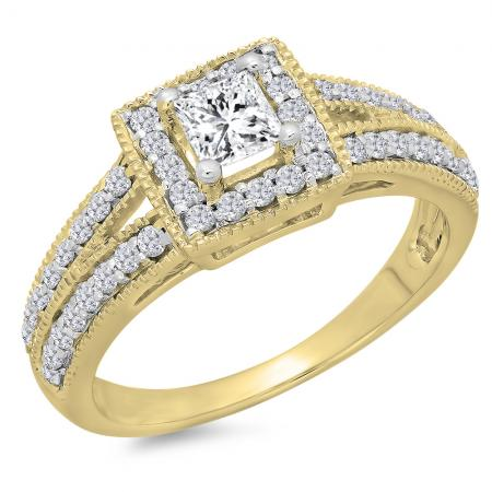 0.80 Carat (ctw) 14K Yellow Gold Princess & Round Cut Diamond Ladies Split Shank Bridal Halo Engagement Ring 3/4 CT