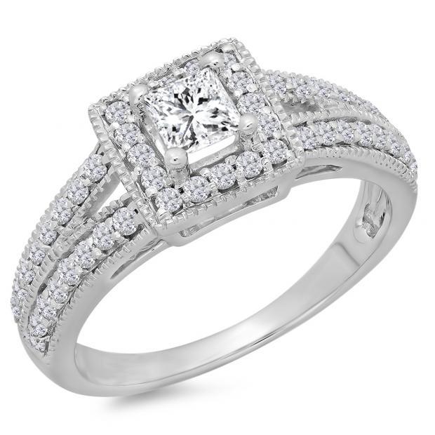 0.80 Carat (ctw) 18K White Gold Princess & Round Cut Diamond Ladies Split Shank Bridal Halo Engagement Ring 3/4 CT