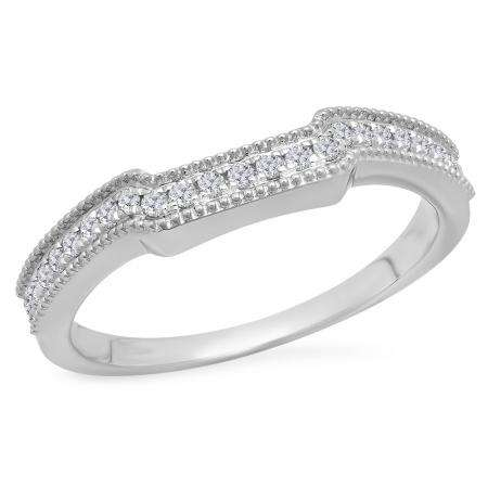 0.25 Carat (Ctw) 10K White Gold Round White Diamond Ladies Anniversary Wedding Stackable Band Guard Ring 1/4 CT