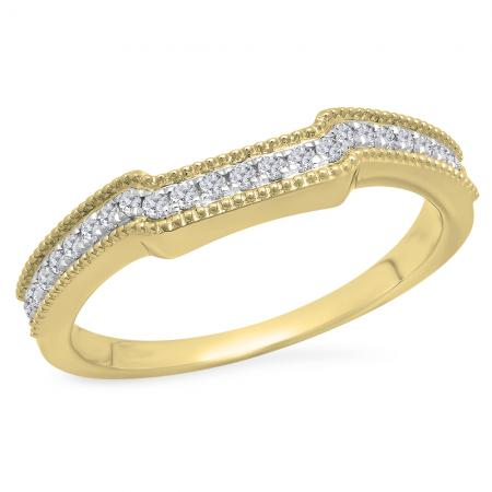 0.25 Carat (Ctw) 10K Yellow Gold Round White Diamond Ladies Anniversary Wedding Stackable Band Guard Ring 1/4 CT