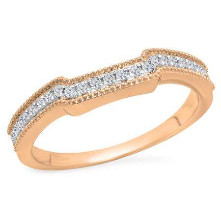 0.25 Carat (Ctw) 18K Rose Gold Round White Diamond Ladies Anniversary Wedding Stackable Band Guard Ring 1/4 CT