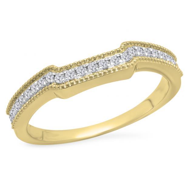 0.25 Carat (Ctw) 18K Yellow Gold Round White Diamond Ladies Anniversary Wedding Stackable Band Guard Ring 1/4 CT