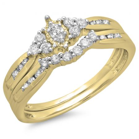 0.55 Carat (ctw) 14K Yellow Gold Marquise & Round Cut Diamond Ladies Bridal Engagement Ring With Matching Band Set 1/2 CT