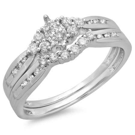 0.55 Carat (ctw) 18K White Gold Marquise & Round Cut Diamond Ladies Bridal Engagement Ring With Matching Band Set 1/2 CT