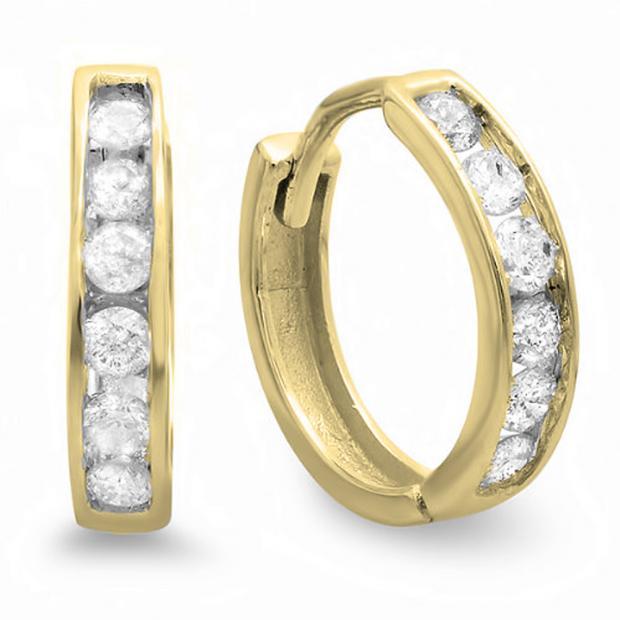 0.30 Carat (ctw) 10K Yellow Gold Round Diamond Ladies Mens Unisex Huggie Hoop Earrings 1/3 CT