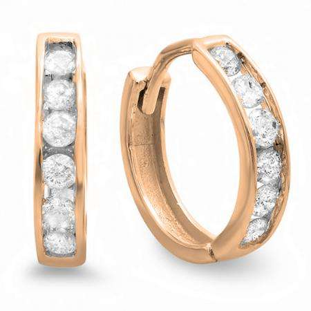 0.30 Carat (ctw) 18K Rose Gold Round Diamond Ladies Mens Unisex Huggie Hoop Earrings 1/3 CT