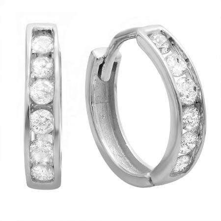 0.30 Carat (ctw) 18K White Gold Round Diamond Ladies Mens Unisex Huggie Hoop Earrings 1/3 CT