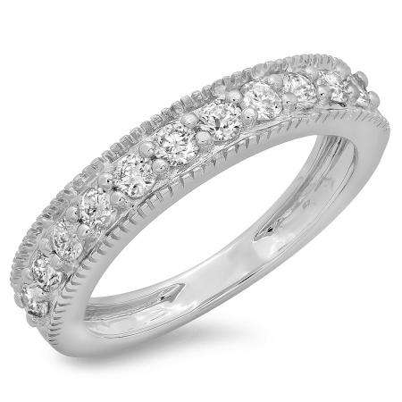 0.50 Carat (ctw) 14K White Gold Round Cut Diamond Ladies Millgrain Anniversary Wedding Stackable Band 1/2 CT