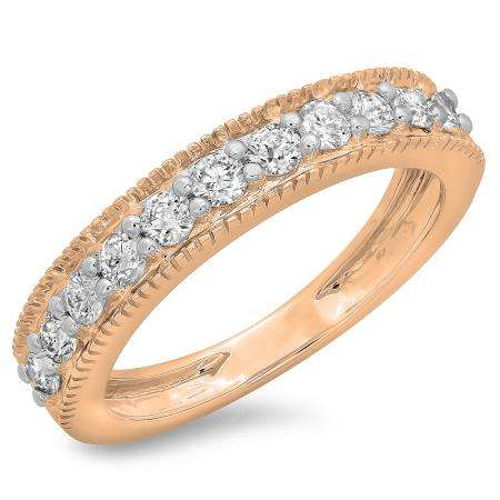 0.50 Carat (ctw) 18K Rose Gold Round Cut Diamond Ladies Millgrain Anniversary Wedding Stackable Band 1/2 CT