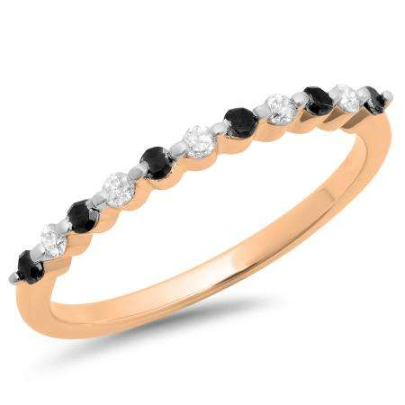 0.25 Carat (ctw) 10K Rose Gold Round Black & White Diamond Ladies 11 Stone Anniversary Wedding Stackable Band 1/4 CT