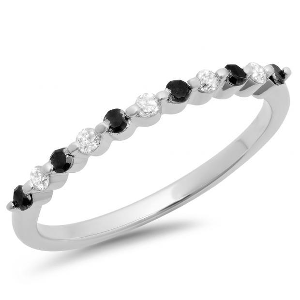 0.25 Carat (ctw) 10K White Gold Round Black & White Diamond Ladies 11 Stone Anniversary Wedding Stackable Band 1/4 CT