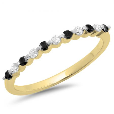 0.25 Carat (ctw) 10K Yellow Gold Round Black & White Diamond Ladies 11 Stone Anniversary Wedding Stackable Band 1/4 CT