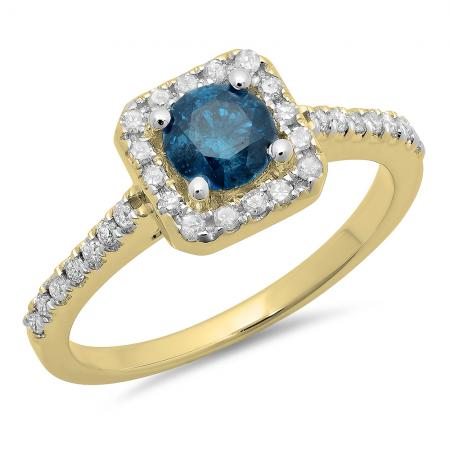 0.90 Carat (ctw) 10K Yellow Gold Round Blue & White Diamond Ladies Bridal Halo Style Engagement Ring