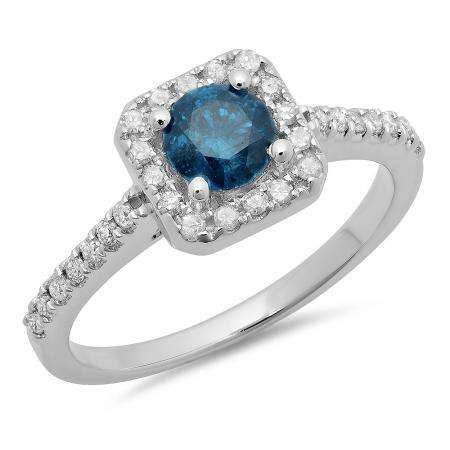 0.90 Carat (ctw) 18K White Gold Round Blue & White Diamond Ladies Bridal Halo Style Engagement Ring