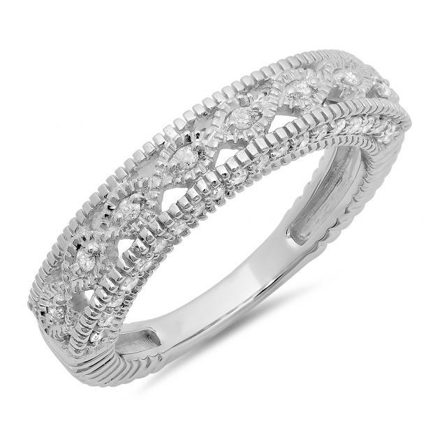 0.40 Carat (ctw) 10K White Gold Round Cut Diamond Ladies Vintage Style Millgrain Anniversary Wedding Stackable Band