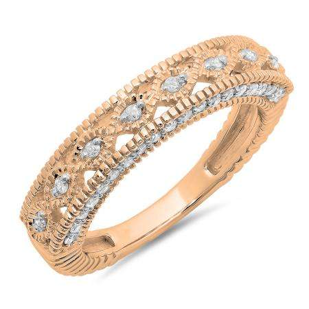 0.40 Carat (ctw) 14K Rose Gold Round Cut Diamond Ladies Vintage Style Millgrain Anniversary Wedding Stackable Band