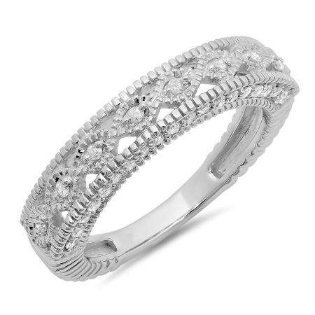 0.40 Carat (ctw) 14K White Gold Round Cut Diamond Ladies Vintage Style Millgrain Anniversary Wedding Stackable Band